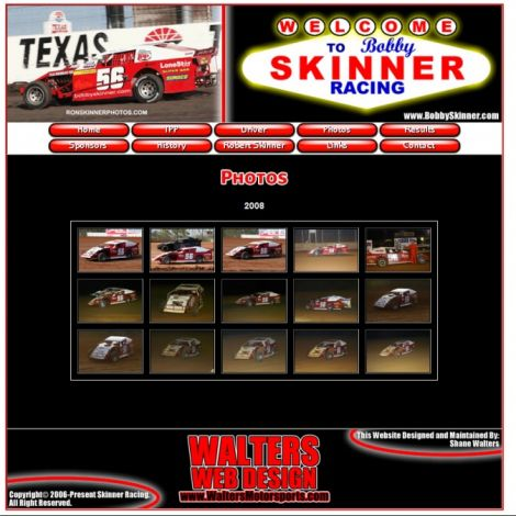 Bobby Skinner Racing - Walters Web Design ( 2006 Website Designs )