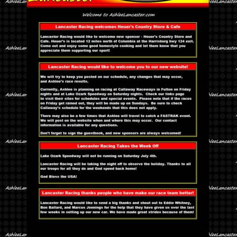 Ashlee Lancaster Racing - Walters Web Design ( 2008 Website Designs )