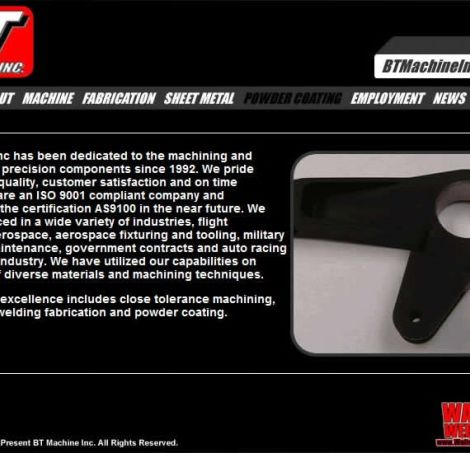 BT Machine Inc - Walters Web Design ( 2008 Website Designs )