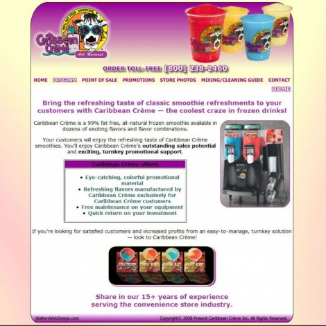 Caribbean Creme - Walters Web Design ( 2008 Website Designs )