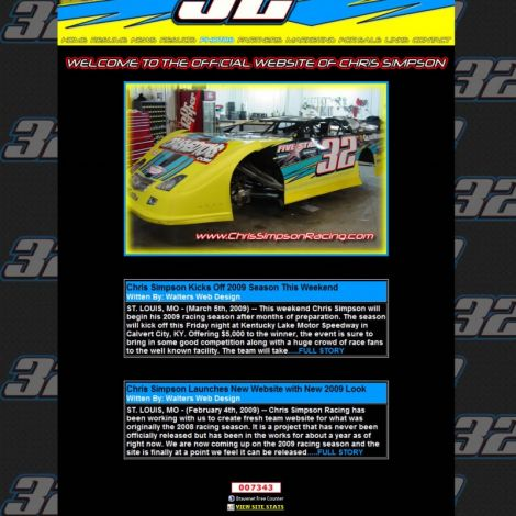 Chris Simpson Racing - Walters Web Design ( 2008 Website Designs )