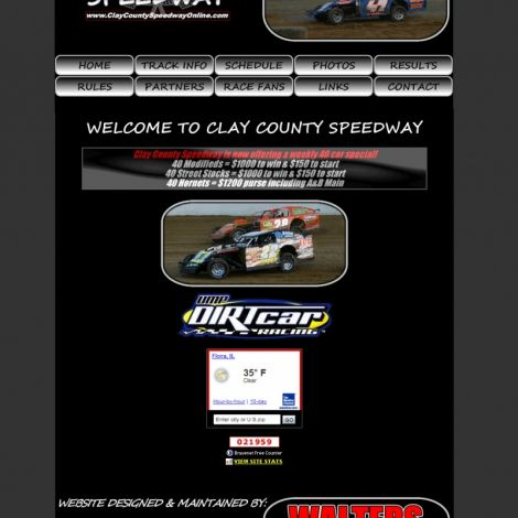 Clay County Speedway - Walters Web Design ( 2008 Website Designs )