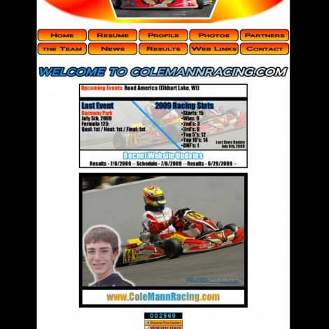 Cole Mann Racing - Walters Web Design ( 2008 Website Designs )