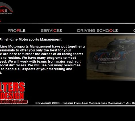 Finish-Line Motorsports Management - Walters Web Design ( 2008 Website Designs )