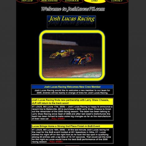 Josh Lucas Racing - Walters Web Design ( 2008 Website Designs )