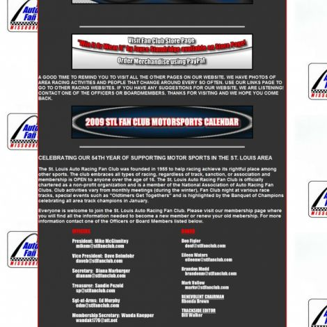 STL Auto Racing Fan Club - Walters Web Design ( 2008 Website Designs )