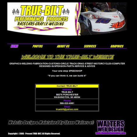 True-Bilt Performance Products - Walters Web Design ( 2008 Website Designs )