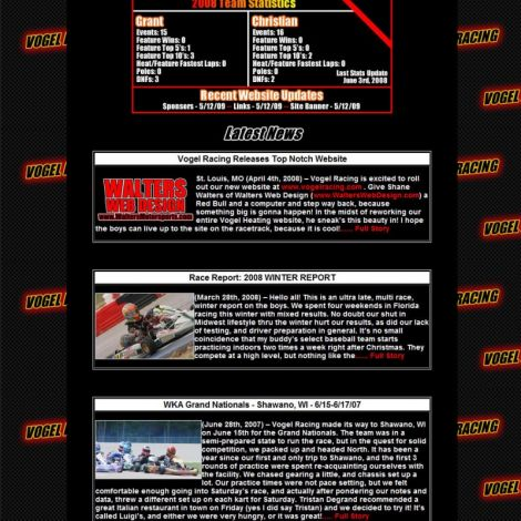 Vogel Racing - Walters Web Design ( 2008 Website Designs )