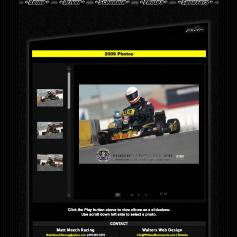 Matt Meech Racing - Walters Web Design ( 2009 Website Designs )