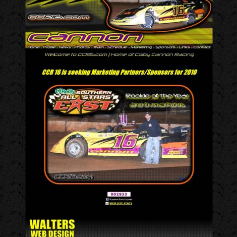 Colby Cannon Racing - Walters Web Design ( 2010 Website Designs )