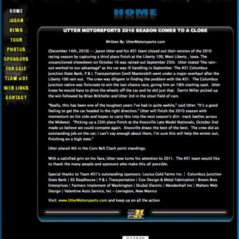 Jason Utter Motorsports - Walters Web Design ( 2010 Website Designs )