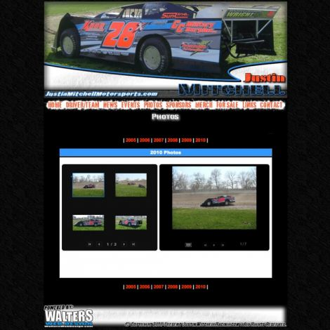 Justin Mitchell Racing - Walters Web Design ( 2010 Website Designs )