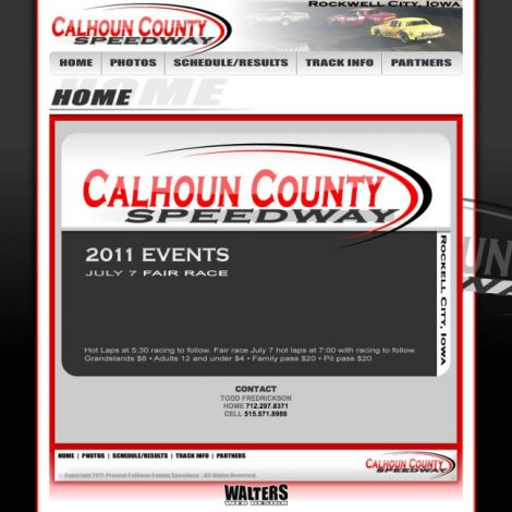 Calhound County Speedway - Walters Web Design ( 2011 Website Designs )
