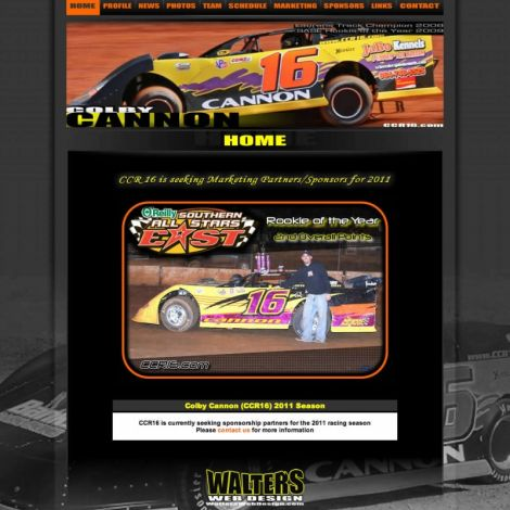 Colby Cannon Racing - Walters Web Design ( 2011 Website Designs )