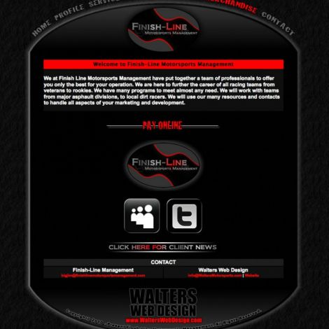 Finish Line Motorsports Management - Walters Web Design ( 2011 Website Designs )