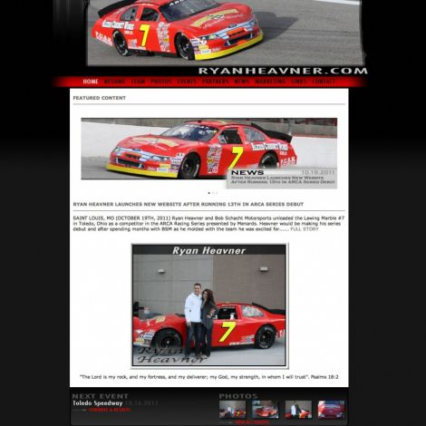 Ryan Heavner Racing - Walters Web Design ( 2011 Website Designs )