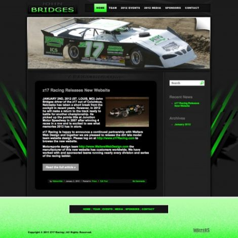 Z17 Racing John Bridges - Walters Web Design ( 2012 Website Designs )