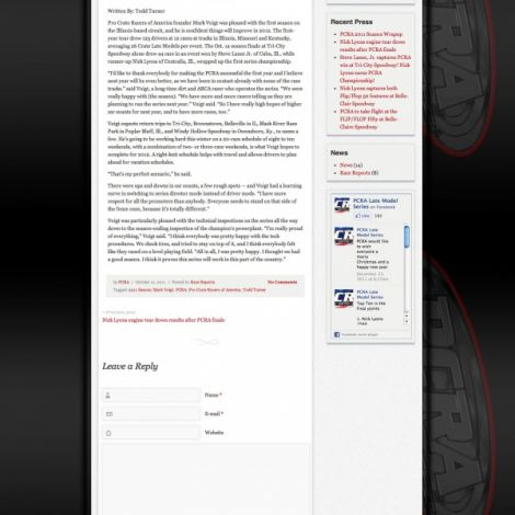 PCRA Late Model Series - Walters Web Design ( 2012 Website Designs )