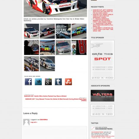 Racing News Network - Walters Web Design ( 2012 Website Designs )