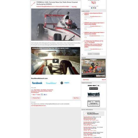 Racing News Network - Walters Web Design ( 2012 Website Designs )