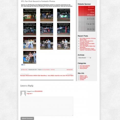 STL Auto Racing Fan Club - Walters Web Design ( 2012 Website Designs )