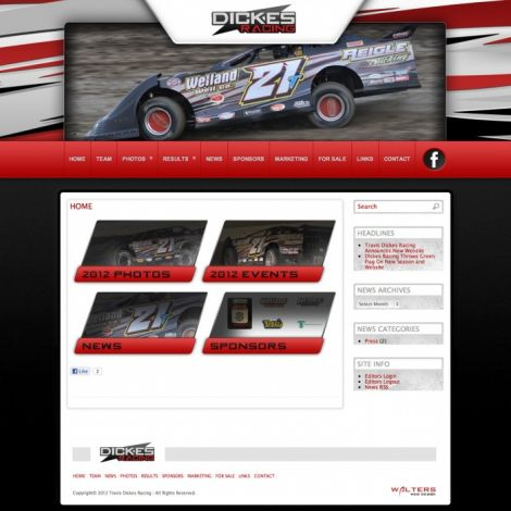 Travis Dickes Racing - Walters Web Design ( 2012 Website Designs )