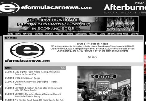 2013 Walters Web Design Advertisement Featured on EFormulaCarNews ( Advertising Portfolio )