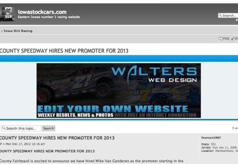 2013 Walters Web Design Advertisement Featured on IowaStockCars ( Advertising Portfolio )