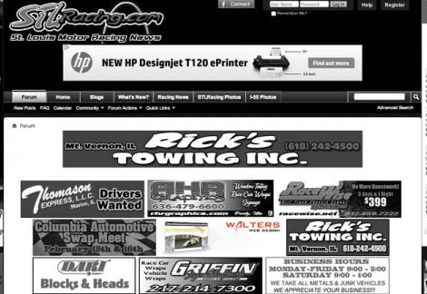 2013 Walters Web Design Advertisement Featured on STLRacing ( Advertising Portfolio )