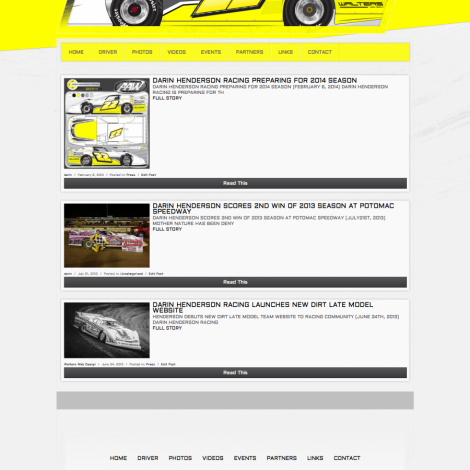 Darin Henderson Racing - Walters Web Design ( Dirt Racing Website )