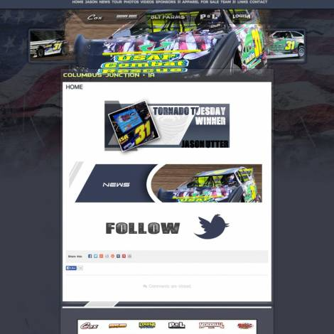 Utter Motorsports Dirt Late Model Website Design ( Walters Web Design )