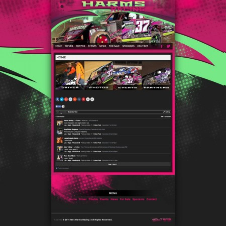 Wes Harms Racing Driver Website Links Modified - Walters Web Design