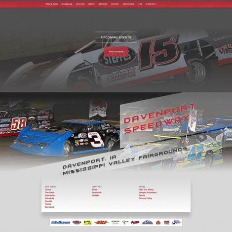 2015 Davenport Speedway Website Development - Walters Web Design