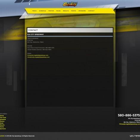 2015 Elk City Speedway Website Design - Walters Web Design