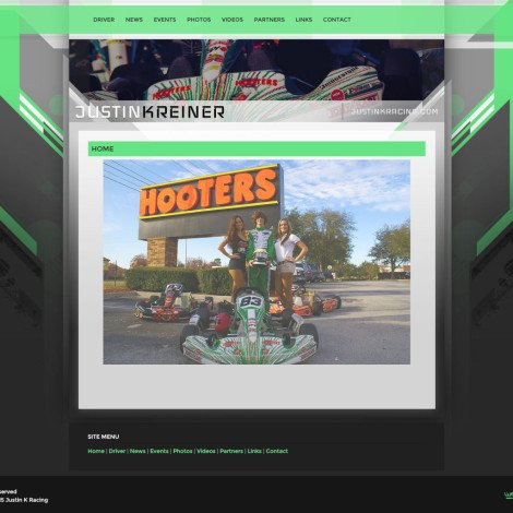 Justin K Racing Karting Team Website - 2015 Walters Web Design