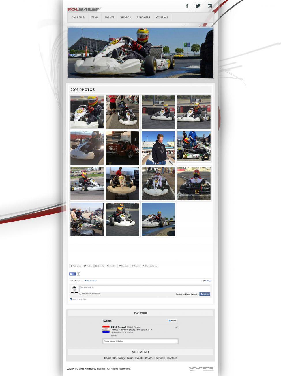 Kol Bailey SKUSA Driver Kart Racing Website - Walters Web Design