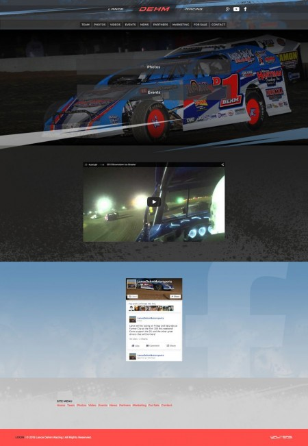 2015 Lance Dehm Racing Dirt Modified Driver Web Design - Walters Web Design