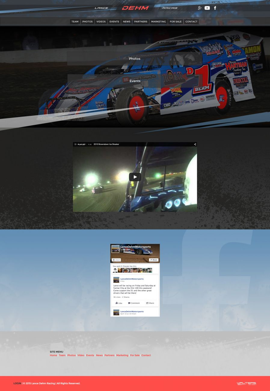 2015 Lance Dehm Racing Dirt Modified Driver Website - Walters Web Design