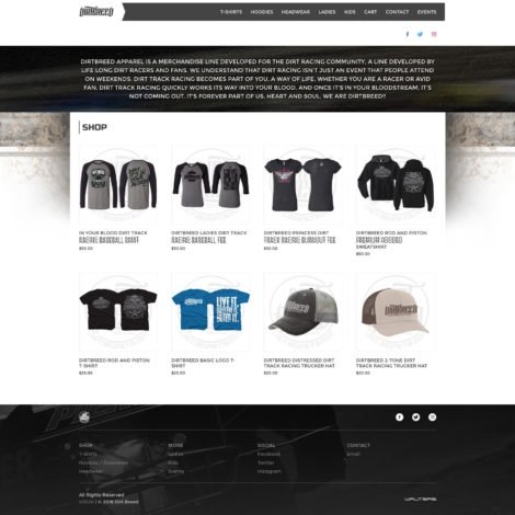 2016 dirt breed dirt racing apparel website design - walters web design