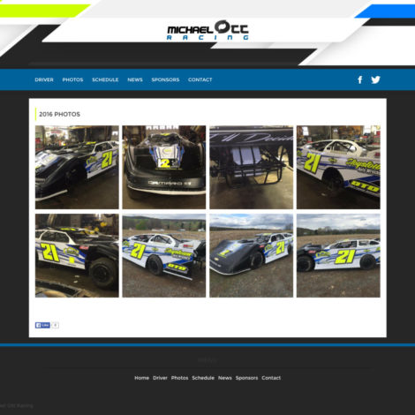 2016 Michael Ott Racing - Dirt Late Model Driver Website - Walters Web Design